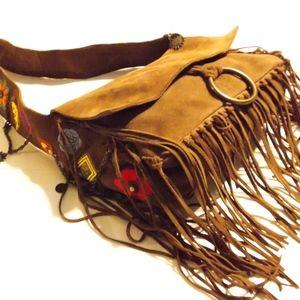 Boho Festival Bag Embroidered Fringe Chains Charms